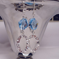 Hammered Link Sterling Silver Earrings, Aquamarine Swarovski Crystal Earrings, Sterling Silver and Crystal Dangle Earrings