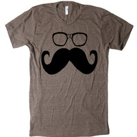 Men's Mustache and Geek Glasses Funny T Shirt - American Apparel - S, M, L, XL, and XXL (28 Color Options)