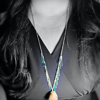 Necklace - Multi Chain Fringe - Wire Wrap River Rock, Turquoise Gunmetal Silver Color Chains, Various Metals - OOAK Jewelry