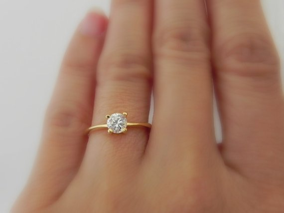 0.40 carat Diamond Engagement Ring - White Diamond CZ - Brass -  Yellow Gold Color (no.313A)