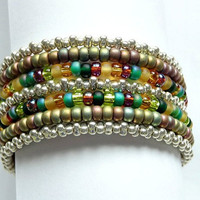 Memory Wire Statement Bracelet in Jewel Tones