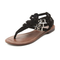 Sueded T-Strap Gladiator Sandal