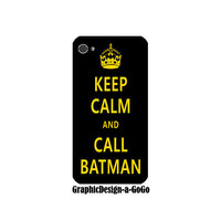 Iphone 4/4s case, Keep Calm and Call Batman, custom cell phone case, original design
