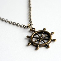 Vintage Look Ship Wheel Necklace (N014)