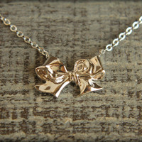 Silver Bow Necklace - All Wrapped Up