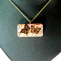 Ink Stained Stamped Abstract Domino Necklace Brooch Dyed and Hand Stamped
