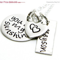 CHRISTMAS in JULY SALE New Font - You are My Sunshine - Personalized Hand Stamped Necklace - Mom and Child Jewelry