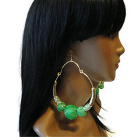 Basketball wives Earrings, Love and Hip hop earrings, Green Earrings, Basketball wife earrings, Green and Gold