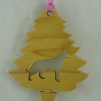 German Shepherd Christmas Tree Ornament Handmade From Poplar Wood, Alsatian Wolf Dog