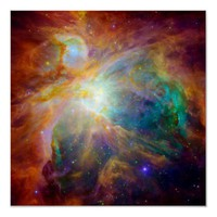 Orion Nebula (Hubble & Spitzer Telescopes) Posters from Zazzle.com