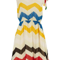 Cream zigzag chiffon dress - View All  - Dresses  - Dorothy Perkins United States