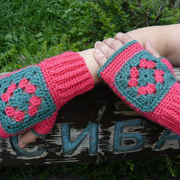 Granny squares crochet  fingerless gloves in hot pink and green