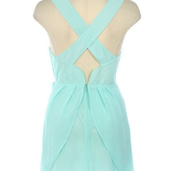 Light Blue Crisscross Back Layered Sleeveless Chiffon Dress