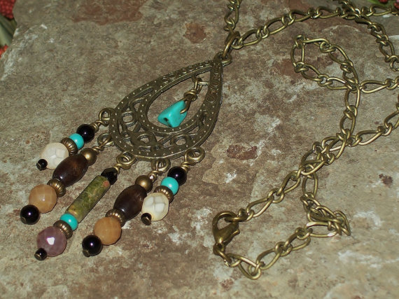Sale - Dream of Mine - Boho Chic Chain Chandelier Teardrop Pendant with Beaded Gemstone Dangles