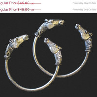 ON SALE Vintage Pair of Carved Horse Head Bracelets, Adjustable