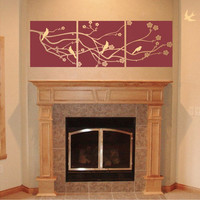 Cherry Blossom Branch with 5 Birds 3 Panel Design Vinyl Wall Art
