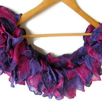 WAS 25 NOW 19  purple scarf,knitting,knit scarf,soft,fashion,women scarf,scarflette,neckwarmer,2012 NEW Trends,ruffle scarf,handmade