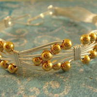 Silver and Gold Bracelet Wire Work  FREE SHIPPING USA on Handmade Artists&#x27; Shop