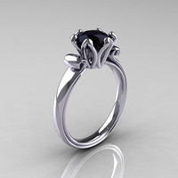 Modern Antique 18K White Gold 1.5 Carat Black Diamond Solitaire Engagement Ring AR127-18WGBD