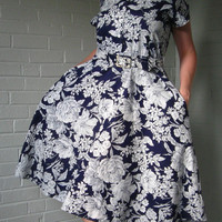 1990s Floral Babydoll dress. Shoulder pads, buttons, full circle skirt- Everything you wanted