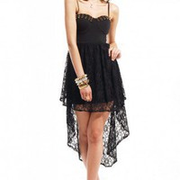 Reverse Stud Bustier High-Low Dress