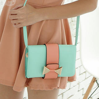 YESSTYLE: PG Beauty- Bow-Accent Handbag (Aqua - One Size) - Free International Shipping on orders over $150