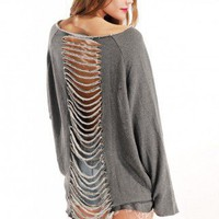 Slit Back Detail Sweatshirt in Grey