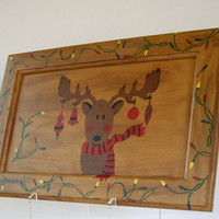 Rudolf  Reindeer Hand Painted upcycled recycled Christmas Sign cij