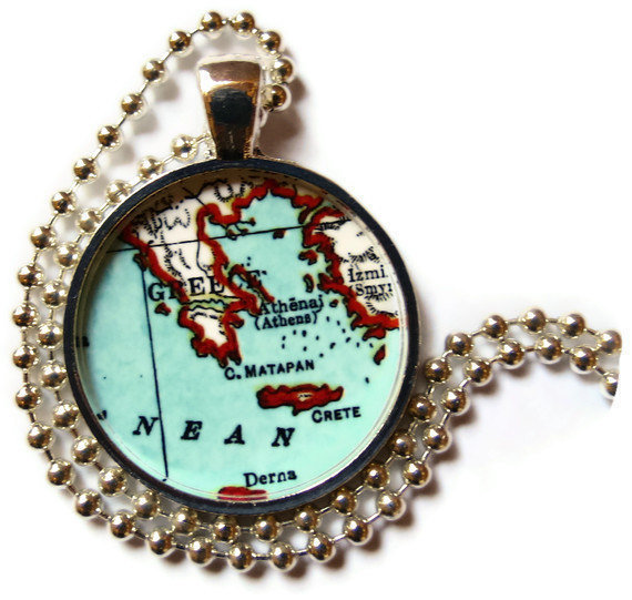 Greece necklace pendant charm, Greek Jewelry Charms, photo pendent, map jewelry