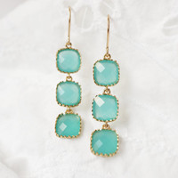 Aqua Sea Stone Drop Earrings