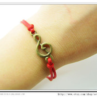 Adjustable Vintage Music Notation Bracelet  with Red Rope Cuff  Bracelet Chain Bracelet  Rope Bracelet  Vintage bracelet 665S