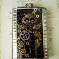 Steampunk Stainless Steel Flask with Black Croc Leather