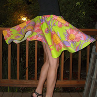 Bright  Circle Skirt Lime Floral Print Full Circle Womens Skirt Custom neon Skirt