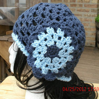 Handmade Crochet Hat - Flower Child in Blue - Mother's Day - Spring, Summer, Fall Accessories- Immediate Shipment