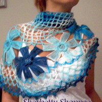 Turquoise Navy Handknit Hand Knit Shawl Crochet Flower Pattern Smart Chic Free Shipping Ready To Order.