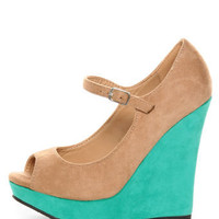 Diva Lounge Madison 07 Tan and Turquoise Peep Toe Wedges - $32.00