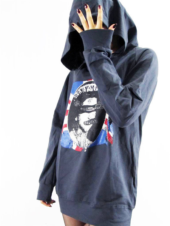 SEX PISTOLS God Save The Queen Rock Hot Chic Sweater Hood Long Sleeve T-Shirt Unisex T-Shirt Navy Blue T-Shirt Sweatshirt Hoodie Size L