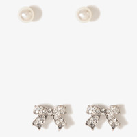 Rhinestoned Bow Earring Set