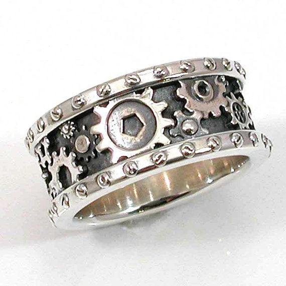 steunk mens silver ring gears and from