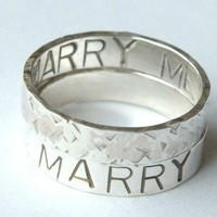 Marry Me LOVE Ring Sterling Silver Band Ring ONE Promise Ring by ExCognito on Zibbet