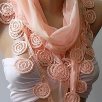 ON SALE/Salmon pink - Elegance Shawl / Scarf with Lace Edge,,