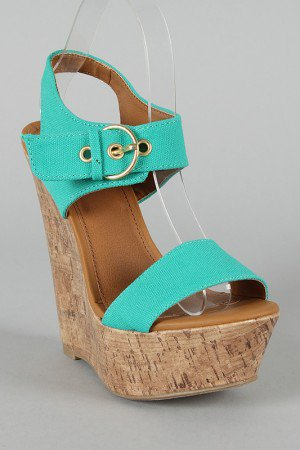 Delicious Walro-S Open Toe Cork Platform Wedge
