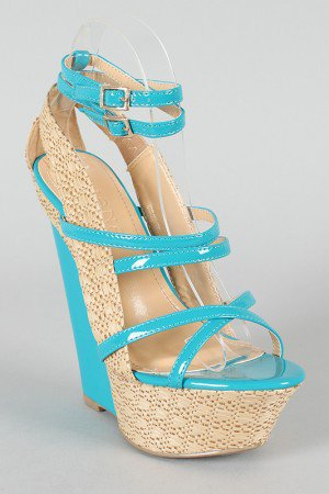 Liliana Peace-5 Strappy Straw Platform Wedge