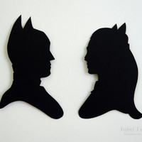 Batman and Catwoman Handcut Paper Silhouette Set