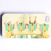 "Iphone Case. Carnival. Fun. ""Falling from the Sky"". Mint. Blue. Green. Yellow. White. Legs. Feet. Thrill Ride. Iphone 4 case. 4s case. Happy"