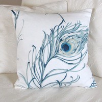 Peacock pillow cover 16 x 16 by LifeCovers on Etsy