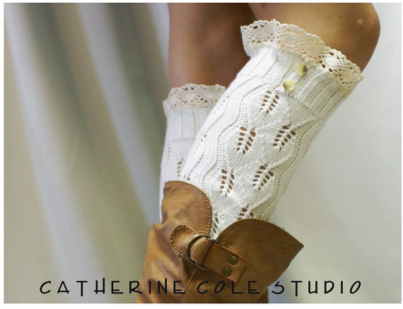 Open crochet knit leg warmers w cluny lace 2 tortoise buttons womens leaf knit pattern  great with all boots by Catherine Cole Studio