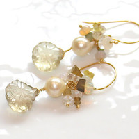 Lemon Quartz Carved Leaves Buttery Pearls Rough Green Yellow Petrol Tourmaline Nuggets Ethiopian Opal Gold Vermeil Dangle Earrings