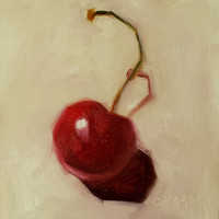 Small Original Oil Painting, 4 x 4, Cherry DeLight