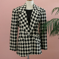Black and White Checkered Woman&#x27;s Wool Blazer with Matte Silver Buttons